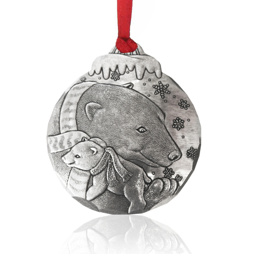 Polar Bear Hug Keepsake Metal Christmas Ornament