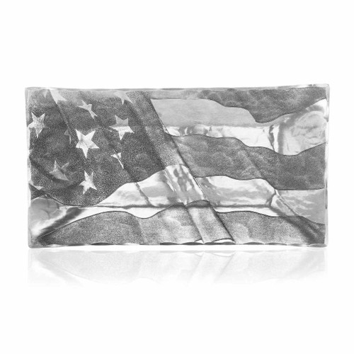 American flag engraved aluminum serving tray
