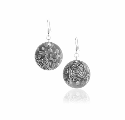 Recycled Metal Rose Artisan Made Earrings