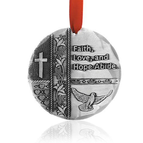 Faith, Hope, Love Metal Keepsake Christmas Ornament