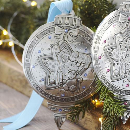 Baby Boy First Christmas Keepsake Ornament, baby's first, christmas, christmas ornament, swarovski, newborn, shower gift, baby gift