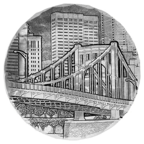 Made in the USA by Wendell August Wendell August Forge Pittsburghs Andy Warhol Bridge from the Allegheny Luncheon Tray Metal Decorative