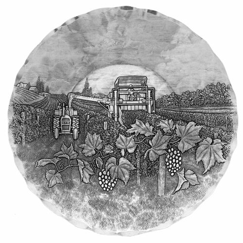 Vineyard Round Wine Bottle Horizon Coaster