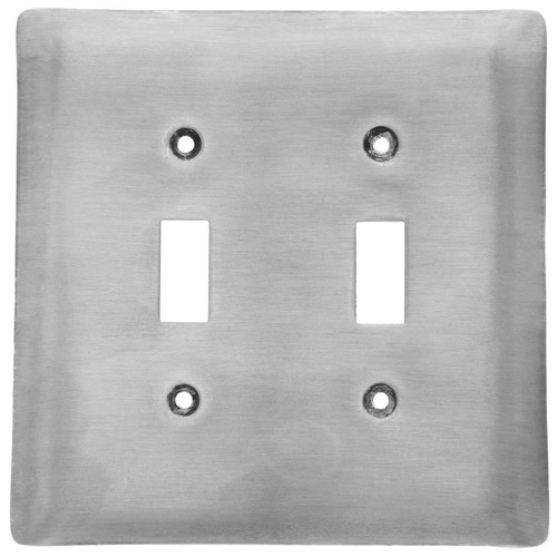 Brushed Aluminum Double Switch Plate Cover