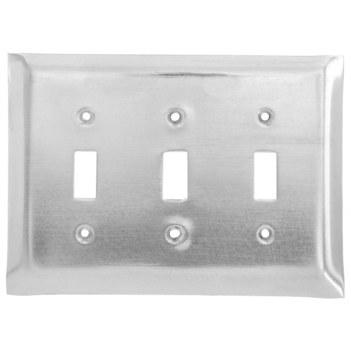 Brushed Aluminum Triple Switch Plate Cover