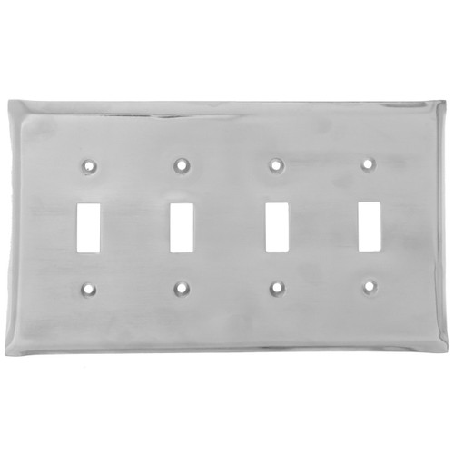 Brushed Aluminum Quad Switch Plate Cover