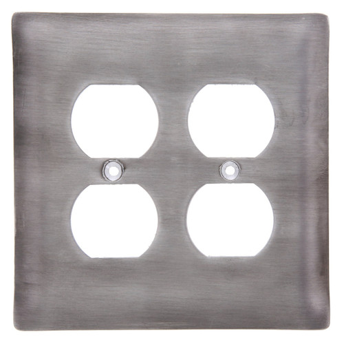 Brushed Aluminum Double Outlet Cover