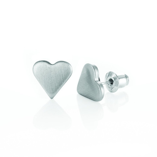 Recycled Metal Heart Stud Earrings American Made