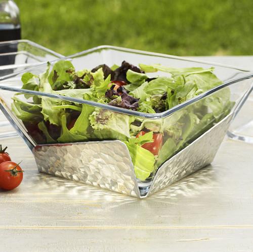 Waterfall Glass and Metal Salad Bowl