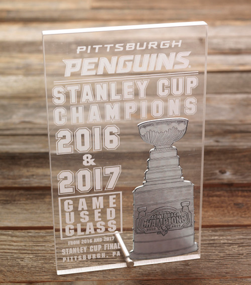 Pittsburgh Penguins Game Used Glass Stanley Cup Plaque