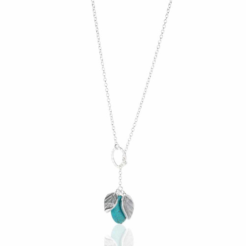 Recycled Metal and Turquoise Leaf Fashion Necklace