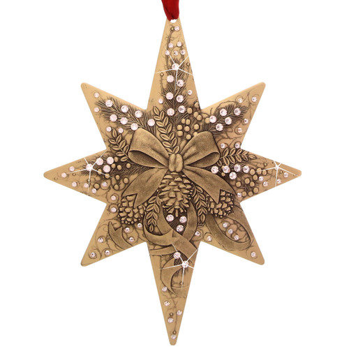2017 Centennial Star Ribbons and Bows - Bronze- collectible, limited edition, swarovski, christmas, christmas ornament, ornament
