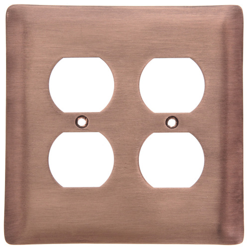 Brushed Copper Double Outlet Cover