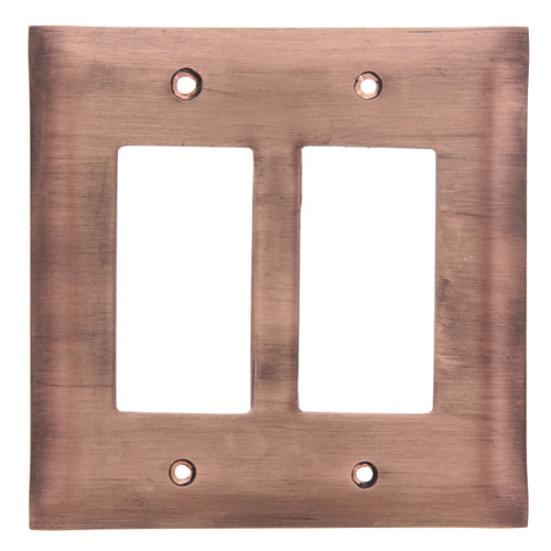 Brushed Copper Double GFCI Outlet Cover