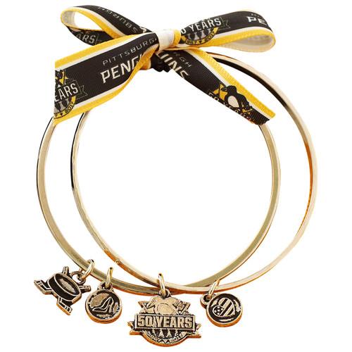 Pittsburgh Penguins 50th Anniversary Charm Gold Bangle