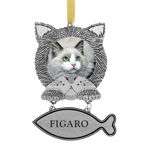 Cat Face Photo Ornament with One Personalized Fish