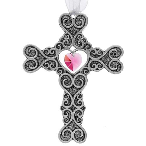 Filigree Heart Cross Ornament Pink Crystal