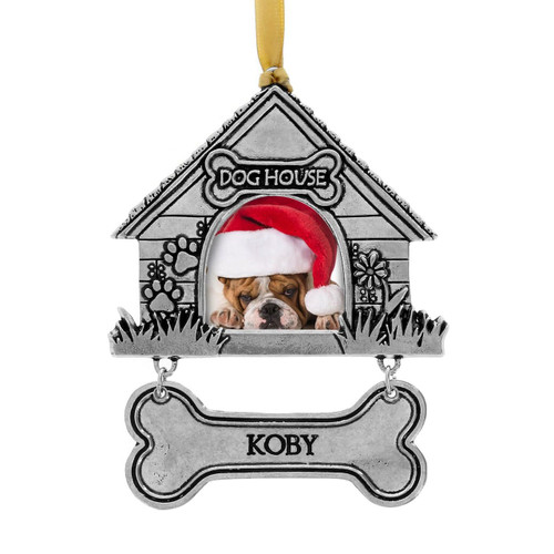 Dog House photo ornament with personalized bone