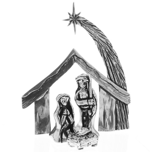 Mini 4-Piece Scculpted Pewter Nativity Set