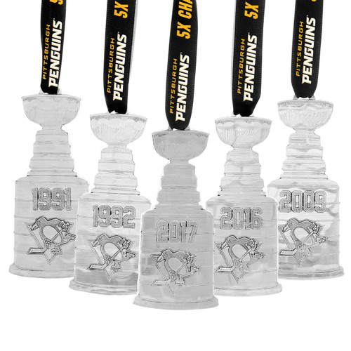 Pittsburgh Penguins 5X Stanley Cup Ornament Set