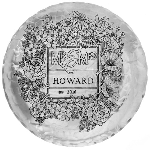 Mr & Mrs Floral Round Plate, wedding gift, shower gift, anniversary gift