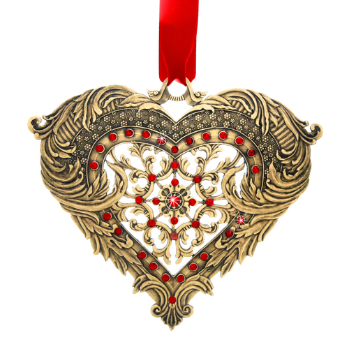 Seasons of Love Bronze Heart Ornament, wedding, wedding gift, swarovski, first wedding ornament