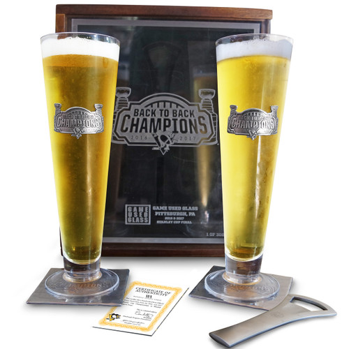 Pittsburgh Penguins Game Used Glass Champion Set