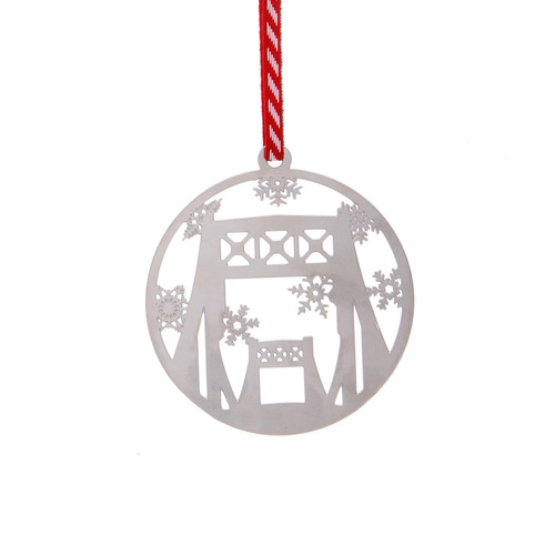Pittsburgh Bridge Cutout Ornament with Snowflakes