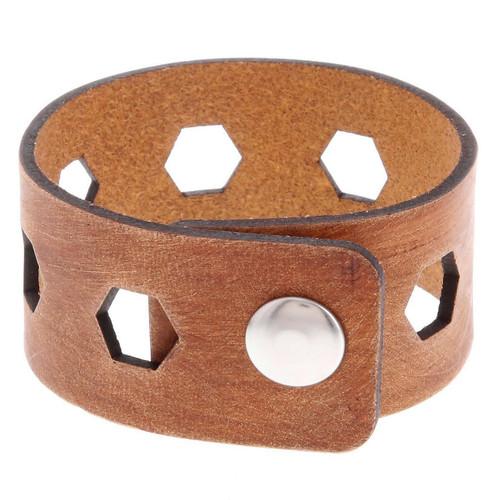 Thick Leather Bridges Cuff Bracelet