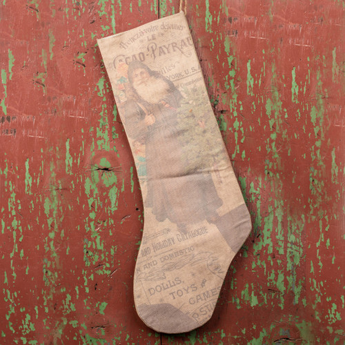 Vintage Putty Santa Stocking