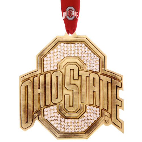 Limited Edition Ohio State O Collectors Ornament with Crystals Bronze Wendell August