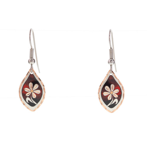 Copper Reflection Red Floral Earrings