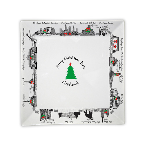 Merry Christmas from Cleveland Small Square Tray