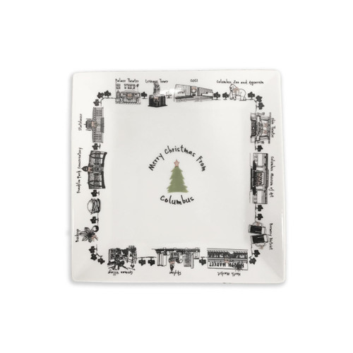 Merry Christmas from Columbus Small Square Tray Wendell August