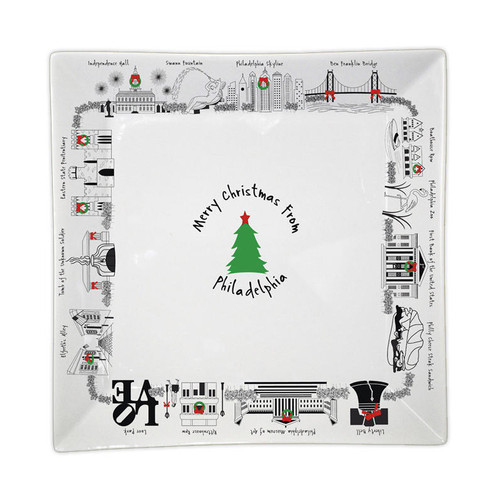 Merry Christmas from Philadelphia Small Square Tray Wendell August