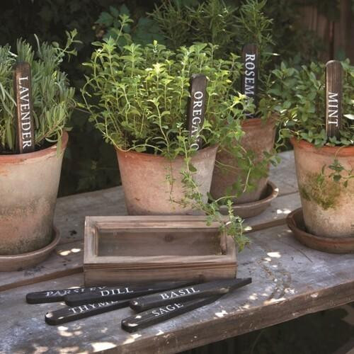Wooden Herb Plant Stakes Black Wendell August
