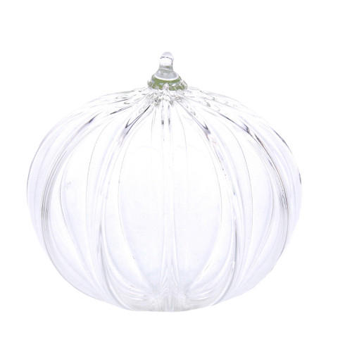 Vessel Glass Handblown Ribbed Sphere Ornament- Clear