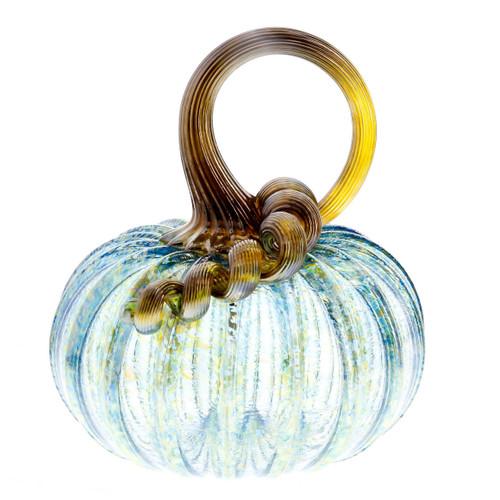 Vessel Glass Handblown Pumpkin - Iridescent Aqua Wendell August