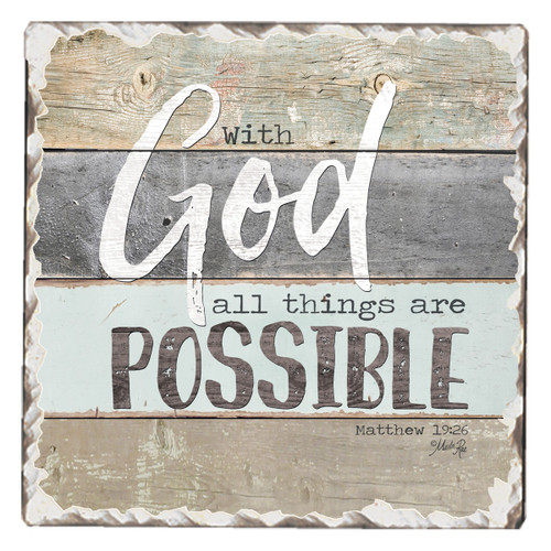 With God All Things Are Possible Coaster