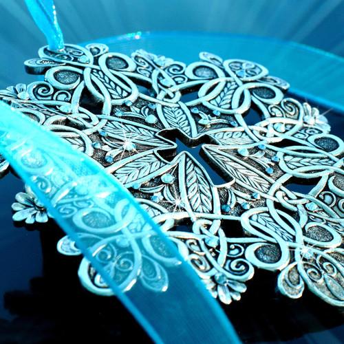 Snow Crystal Hope Cross Ornament Aluminum Wendell August