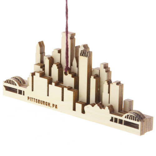 Pittsburgh Skyline Wooden Ornament