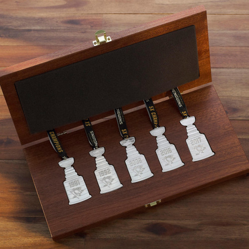 Pittsburgh Penguins 5X Stanley Cup Champion Silver Plated Set in Custom Wood Box Wendell August