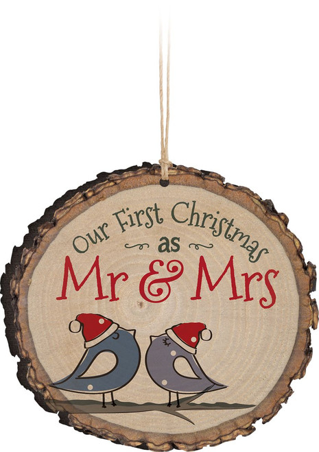 first christmas as mr and mrs wooden ornament