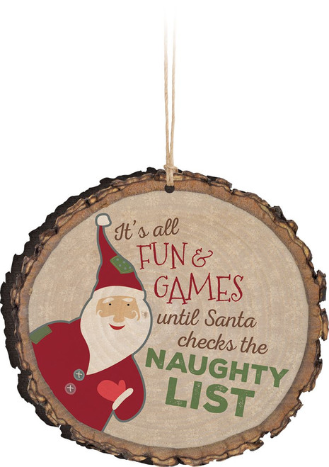 Naughty List Wooden Ornament