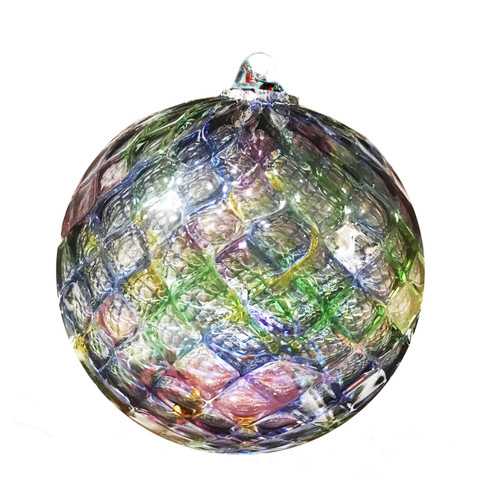 Vessel Glass Faceted Sphere Ornament- Blue Mix Wendell August