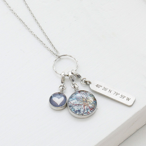 Pittsburgh Map Charm Necklace
