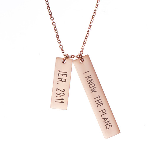 I Know the Plans Double Bar Necklace (Rose Gold)