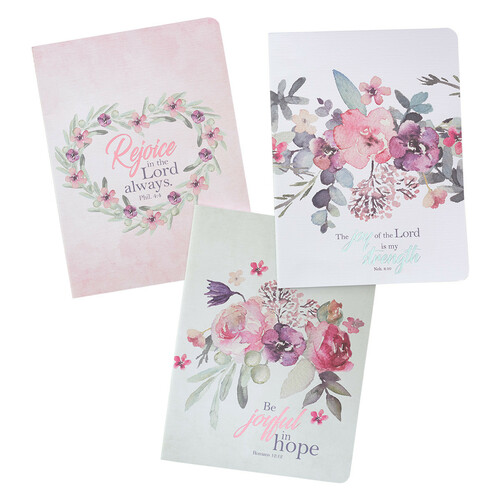 Be Joyful in Hope Romans 12:12 Notebook Set of 3