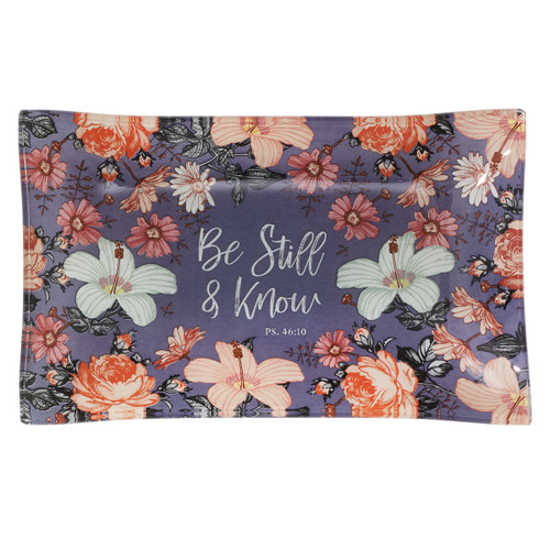 Be Still and Know Floral Glass Trinket Tray – Psalm 46:10