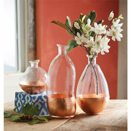 Large Copper Faceted Glass Vase